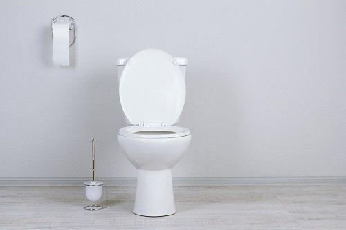 White toilet bowl in a gray bathroom